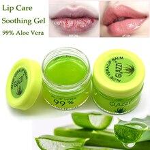 Aloe Vera 99% dudak bakımı kuruluk yatıştırıcı jel nemlendirici nemlendirici dudak balsamı dudak maskesi krem makyaj dudak baz astar