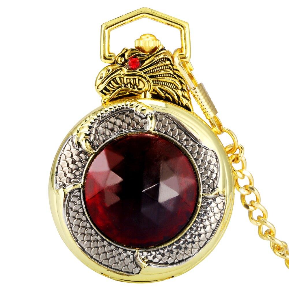 Relógio de Bolso Rubi Ouro Dragão Capa Luxuoso Presente Senhora Preto Algarismos Árabes Quartzo Dial Pingente Grosso Corrente Homem Pequeno Relógio