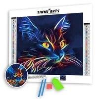5D BRICOLAGE Pleine Verse Colle Diamant Mosaique Peinture Kits Bord Festonne Animal Nouveau Foret Rond Lumineux Bleu Chat Art Decoration Maison