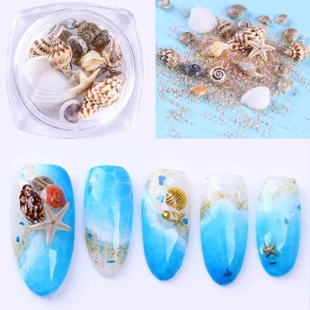1 caja con diseño de concha de océano, estrella de mar, decoración artística de uñas en 3D, herramienta de manualidades para manicura DIY