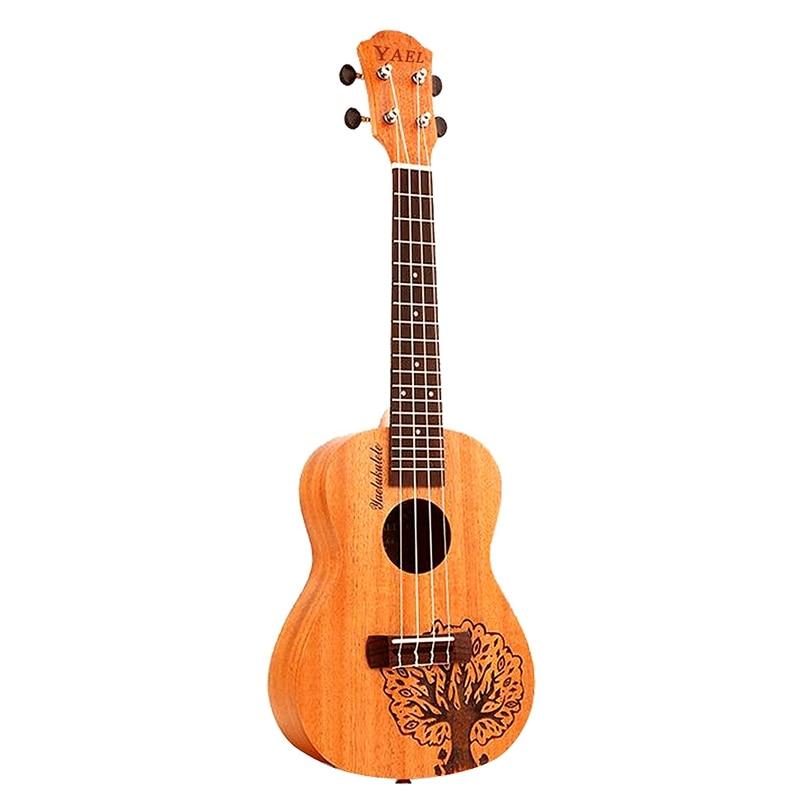 Yael 23 Inch 4 Strings Sapele Ukulele Rosewood Fretboard Hawaiian Mini Guitar Music Instrument Tree Shape Cute Concert Ukulele