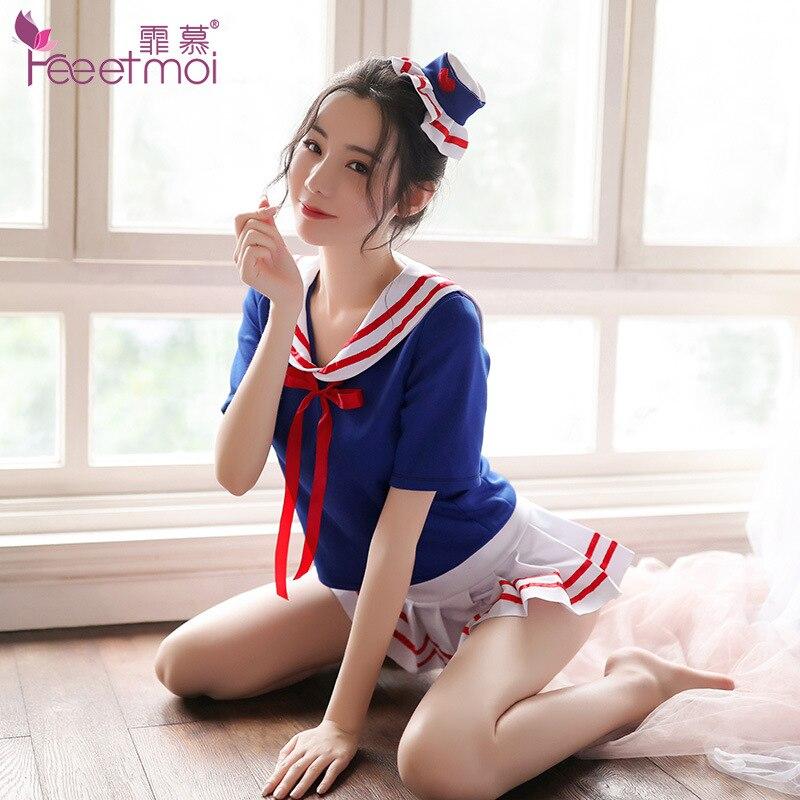 Japanische Sexy Nachtclub Dessous Schuluniform Sailor Top & Mini Rock Frauen Unterwäsche Set Babydoll Cosplay Student Kostüme