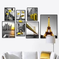 eiffel tower bridge milan cathedral tram wall art canvas painting nordic posters and prints wall pictures for living room decor