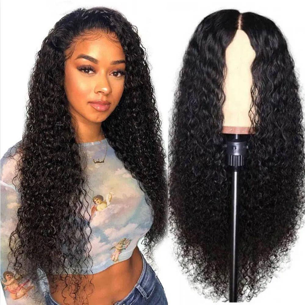 34 Inches Jerry Curly Lace Frontal Wig 250% 13x4 Lace Front Wig Indian Virgin Transparent Lace Human Hair Wig Kinky Curly Wig