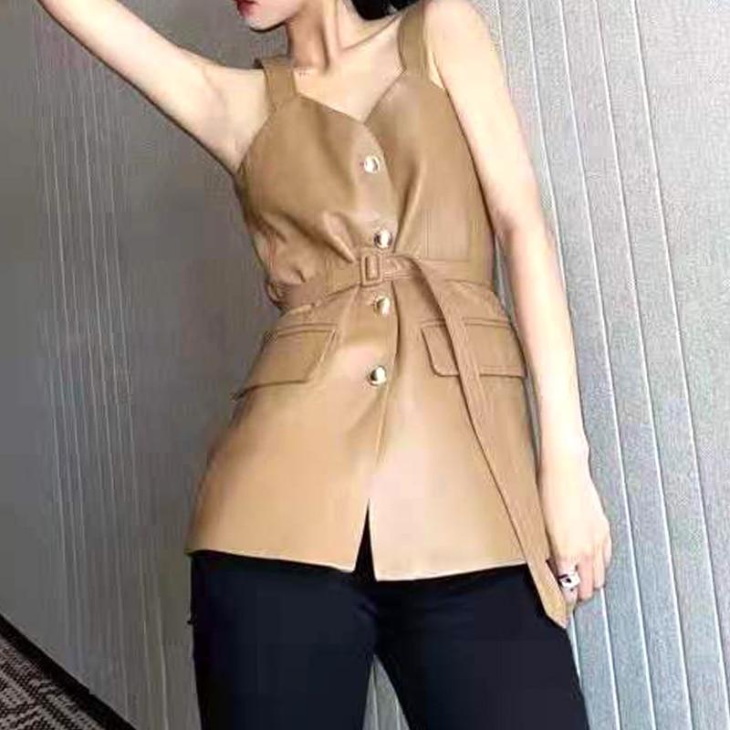 Designer thin-shoulder strap sheepskin leather top 2021 autumn women's belt single-breasted leather camisole