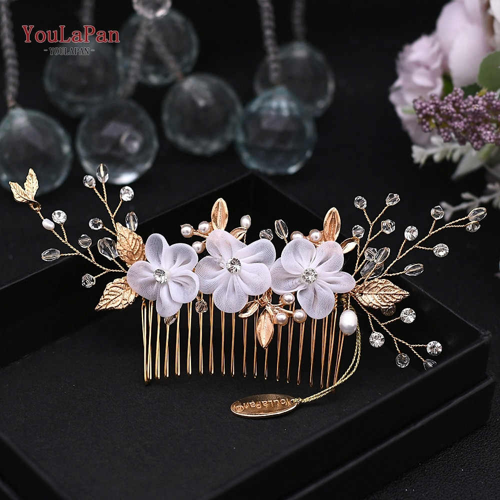YouLaPan Floral nupcial peine del pelo de novia tocado de flores de diamantes de imitación extensión de pelo para boda lado peine nupcial Tiara HP76