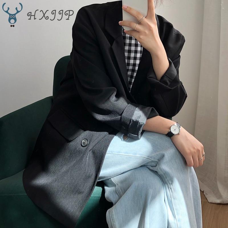 HXJJP Women's Suit Jacket 2020 Spring Autumn Double Breasted New Korean Long Sleeve Solid Loose Casual Blazer Feminino