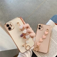 luxe plating liefde hart keten pols soft case voor iphone 12 pro max mini 11 pro max x xs xr 7 8 plus se 2021 cover