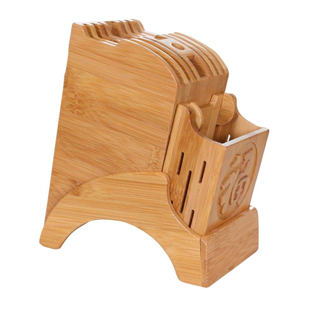 Soporte de almacenamiento de bambú de cocina práctico estante de almacenamiento de palillos soporte de herramientas de madera soporte de bloque de cuchillo para el hogar