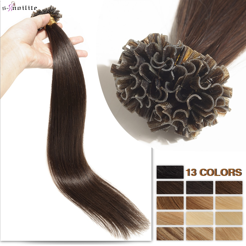 S-noilite 0.5g/s 50g Nails U Tip Hair Extensions For Volume 16'' - 24'' Straight Human Hair Keratina Pre-bonded Capsules Fusion