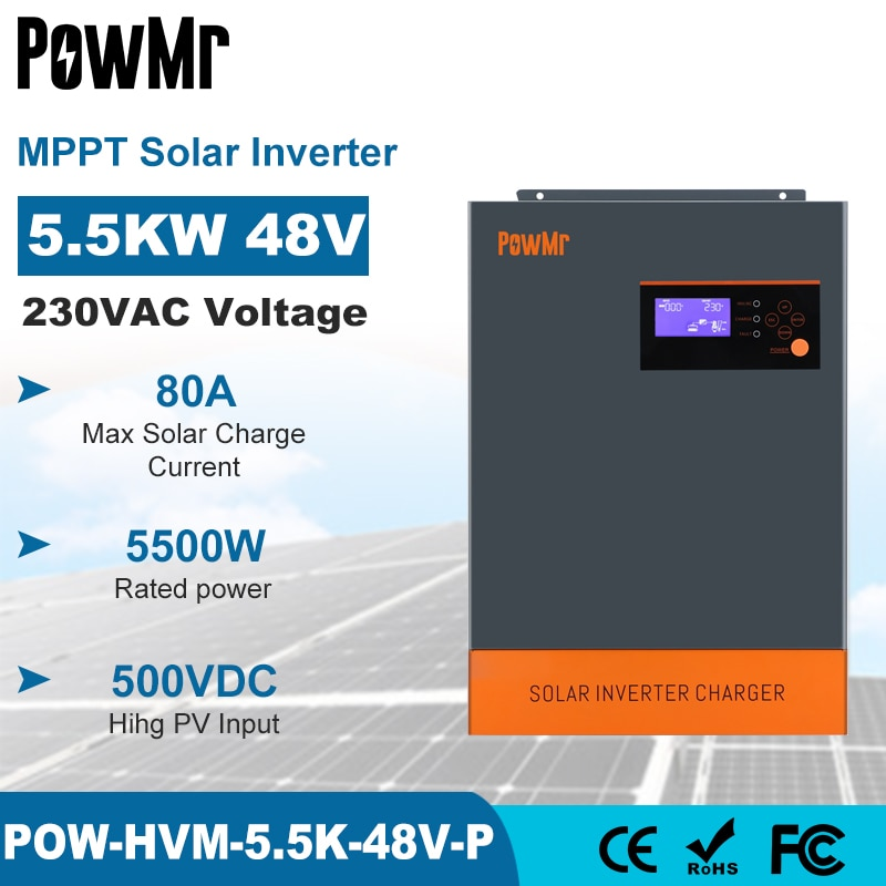 PowMr 5.5KW 5.5KVA عاكس شمسي هجين MPPT 80A 500VDC PV المدخلات 220VAC 48V مع وظيفة موازية 5500 واط 3 المرحلة الشمسية Inversor