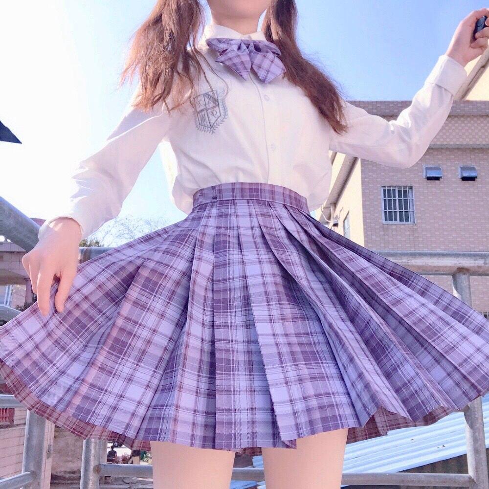 Japanese JK School Students Uniform Skirts Suits Two Piece Set Women White Shirt and Purple Plaid Pleated Skirt Suit