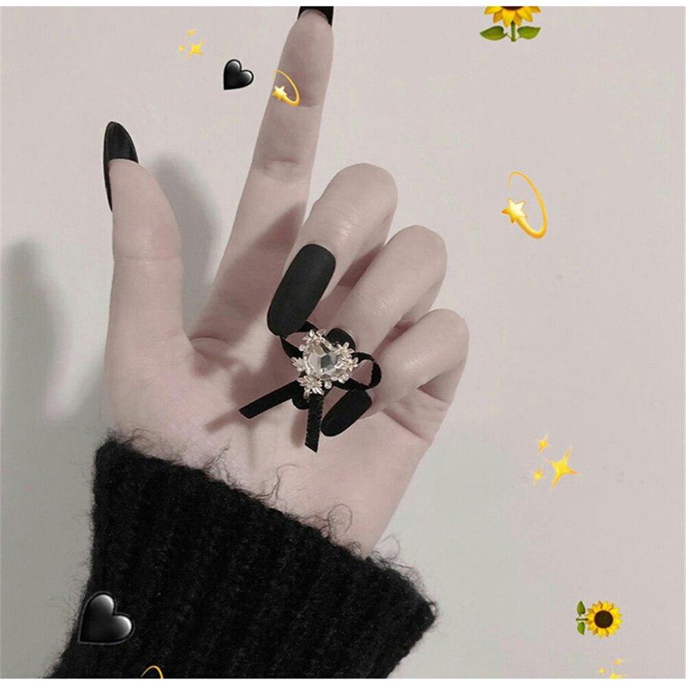 24pcs Ladies Fake Nails Transparent Floral Beads Decor DIY Bride Shiny Fashion Chain Diamond Long Pointed False Nails with  Glue