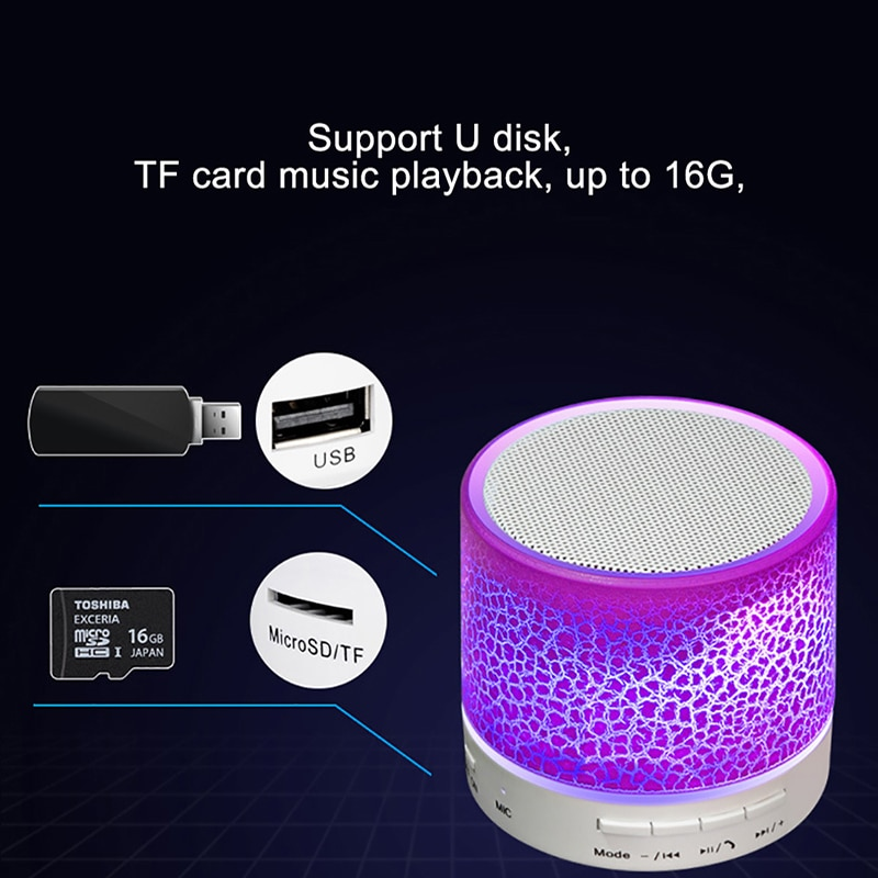 Mini Bluetooth Speaker Wireless Loudspeaker Radio Crack LED TF Card USB Subwoofer Portable Music Sound Column For Mobile Phone enlarge