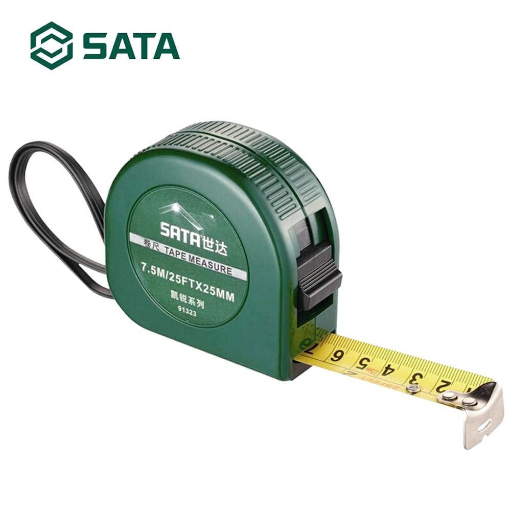 SATA 7,5 M cinta de acero inoxidable regla retráctil ABS caja medida herramienta 91323