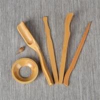 5pcsset kung fu tea sets bamboo handmade clip strainer tea tools set vintage puer knife spoon tea ceremony utensils