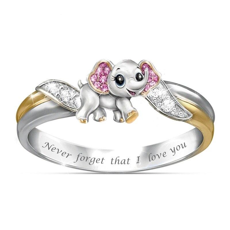 "Berbeny ""I Love You Never Forget"" bonito elefante Rosa cristal circón accesorios de anillo de compromiso regalo de aniversario para amante"