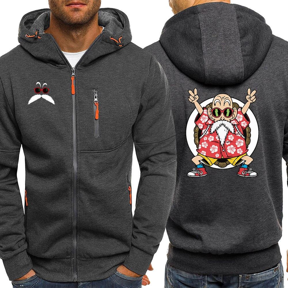 Mestre roshi anime hoodie dos homens camisola outono venda quente jaqueta dragon ball zíper hoodies velo streetwear masculino casaco casual