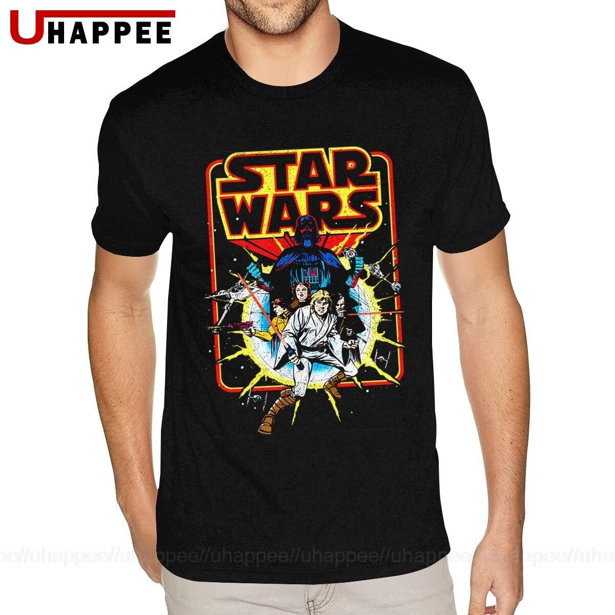 Большие ретро Звездные войны футболки мужские американский стиль модный бренд с коротким рукавом высокое качество футболка Guy 80S винтажная ...