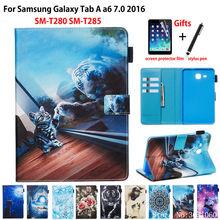SM-T280 étui pour Samsung Galaxy Tab A a6 7.0 2016 T280 T285 SM-T285 couverture Funda tablette motif Animal support coque Capa + cadeau