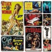Affiche de films classiques Hollywood en metal  signe en etain  Vintage  decoration murale  plaque en metal  retro homme grotte  decor de maison