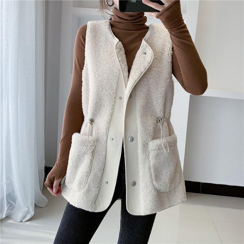 Женский утепленный жилет из овечьей шерсти, однобортный утепленный жилет с карманами, верхняя одежда без рукавов, зима 2021