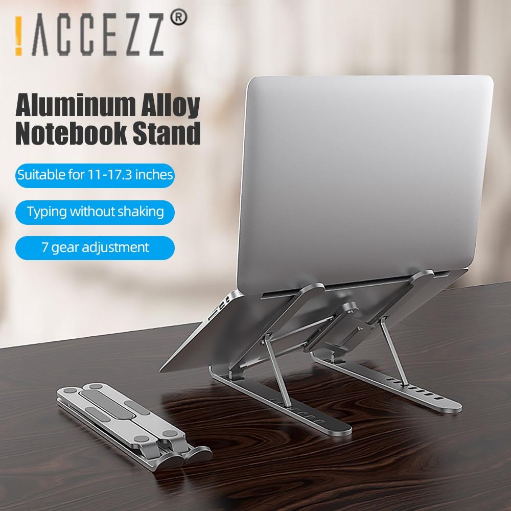 ¡! ACCEZZ Soporte de aleación de aluminio , soporte ajustable para portátil, plegable para Macbook Xiaomi, Lenovo, HP, ASUS, antideslizante, soporte de 11-17 pulgadas
