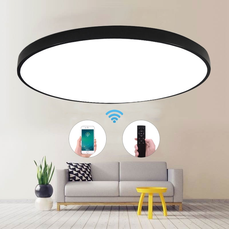 Ultra-Thin LED Ceiling Light Modern Lamp Living Room Lighting Fixture Bedroom Kitchen Surface Mount Flush Panel Remote Control modern macaron round iron led ceiling light lamp living room lighting fixture bedroom kitchen surface mount round ceiling lamps
