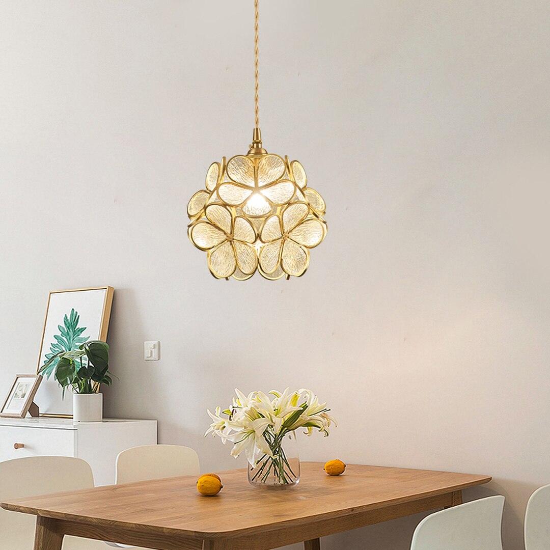 Luces colgantes de cristal nórdico lámpara colgante en forma de flor lámpara de cobre de lujo lámpara cálida dormitorio junto a la cama chica corazón luces colgantes E27