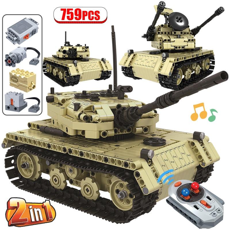 759 Uds tanque eléctrico de Control remoto de ciudad 2 en 1 modelo la técnica de bloques de construcción militar RC bloques para armar tanque juguetes para niños regalos