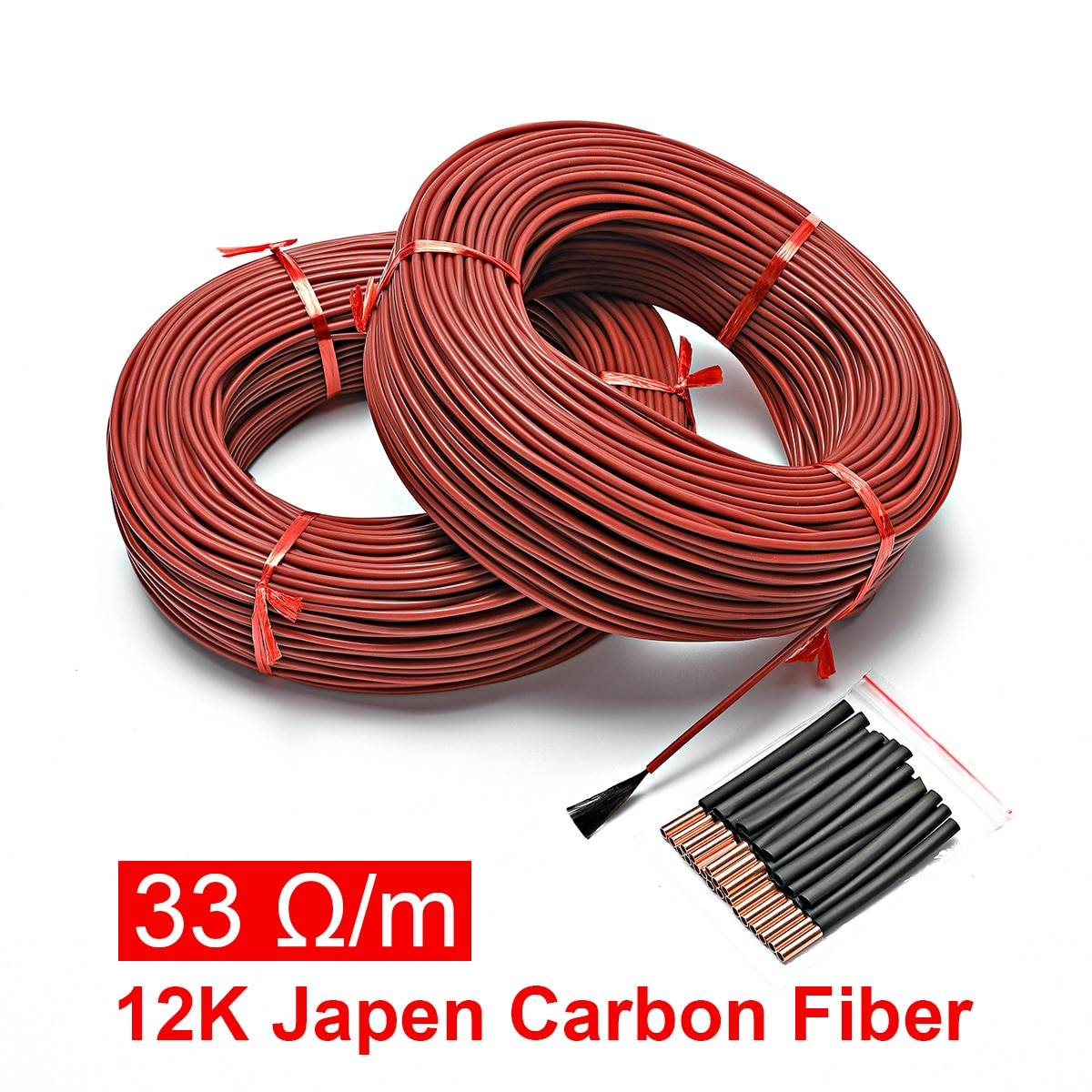 10 to 100 Meters 12K Floor Warm Heating Cable 33ohm/m Carbon Fiber Heating Wires heating wire coil