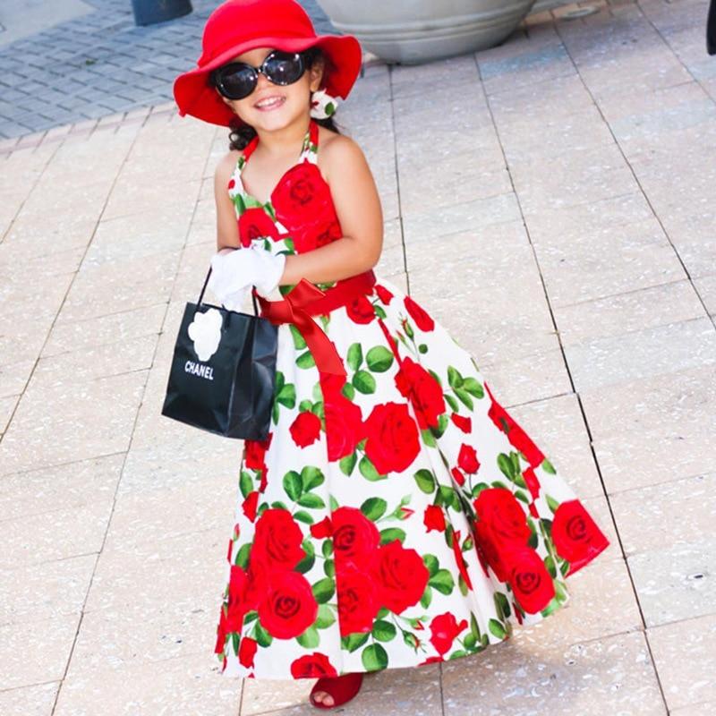 Детское платье с цветочным принтом для маленьких девочек; Пляжное платье принцессы с открытой спиной без бретелек; Летнее милое детское Красное Длинное Платье