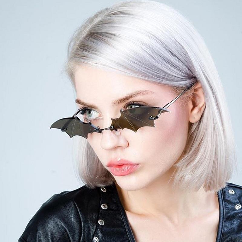 Fashion Rimless Men Sunglasses Women Trendy Bat Shaped Sun Glasses Female Male Vintage Black Mirror