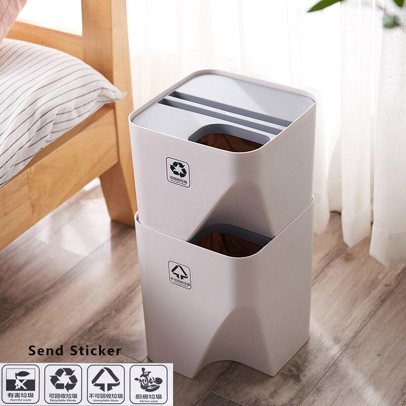 Gestapelt Sortierung Mülleimer Recycling Bin Kunststoff Küche Mülleimer Haushalt Trockenen und Nassen Trennung Abfall Bin Bathrom Müll bin