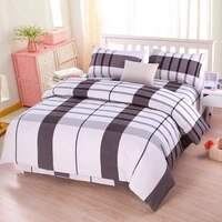 special offer new plaid four piece bed thickened old coarse cloth four piece bed home textile three piece bedroom