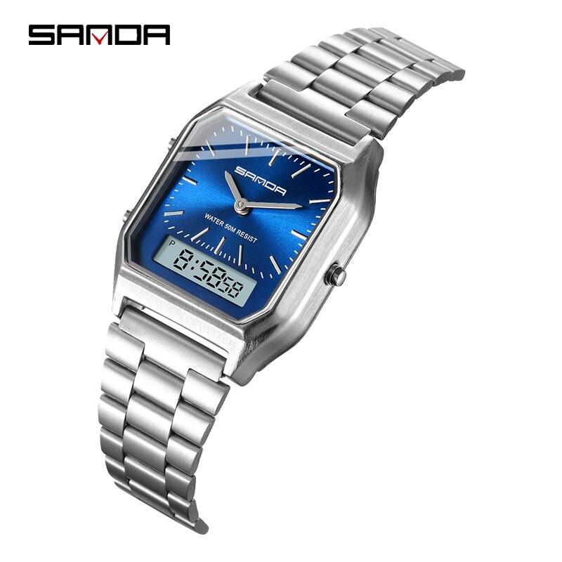 Relojes de pulsera Sanda para hombre con pantalla Digital de acero inoxidable Retro azul, relojes de pulsera erkek kol saati zegarek damski