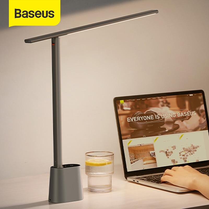 Baseus LED لمبة مكتب العين حماية دراسة عكس الضوء مكتب ضوء مصباح طاولة قابلة للطي الذكية التكيف سطوع أباجورة للقراءة