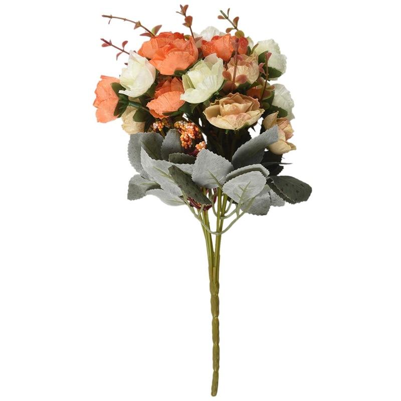 21 cabezas de seda Artificial rosa de tela flores hoja falsa boda ramo decoración del hogar, naranja