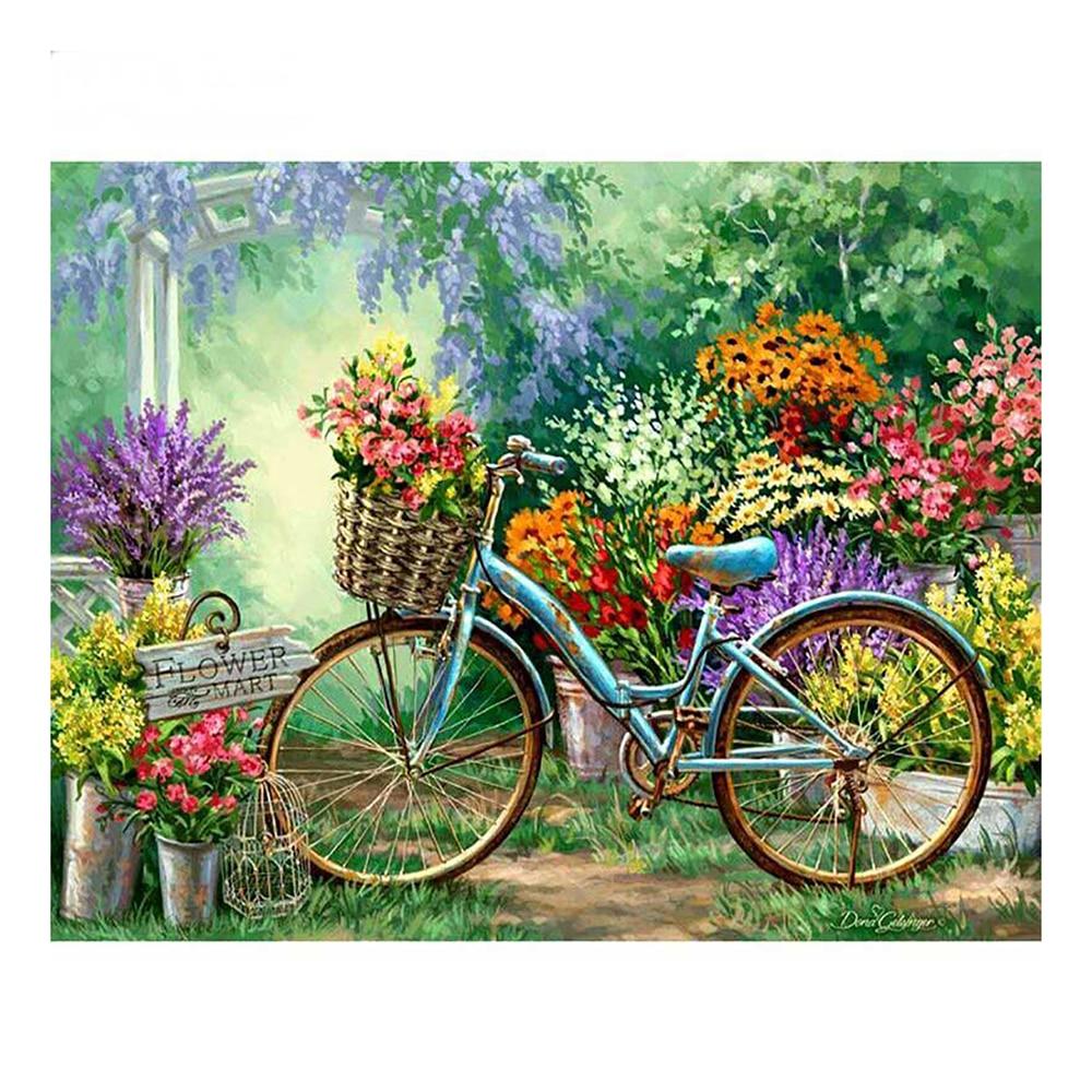 LZAIQIZG DIY 5D Full Diamond Painting Cross Stitch Bike In Flower Market Diamond Embroidery Needlework Patterns Rhinestone kits