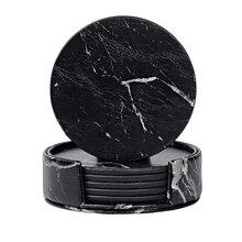 Sous-verres pour boissons 6 pièces avec support   Ensemble de coussins pour gobelets ronds noirs en marbre à usage domestique et de cuisine