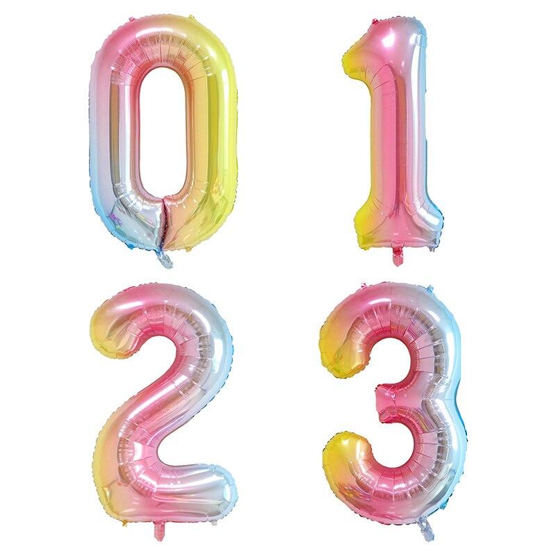 """Papel de aluminio gigante de 40 """", número 0, 1, 2 y 3, globos degradados, decoración para fiesta de cumpleaños o boda"""