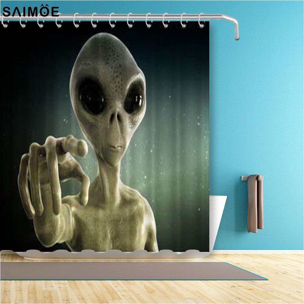 Cortina de baño con estampado Alien 3D, cortina de ducha impermeable para el espacio exterior, cortina de baño de tela de poliéster, conjunto de ducha con cortina