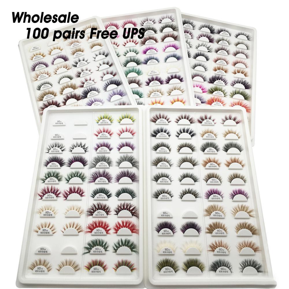 Livre ups 100 pares/lote vison cílios granel atacado colorido 9d cílios drásticos lash fornecedores compõem a extensão dos cílios