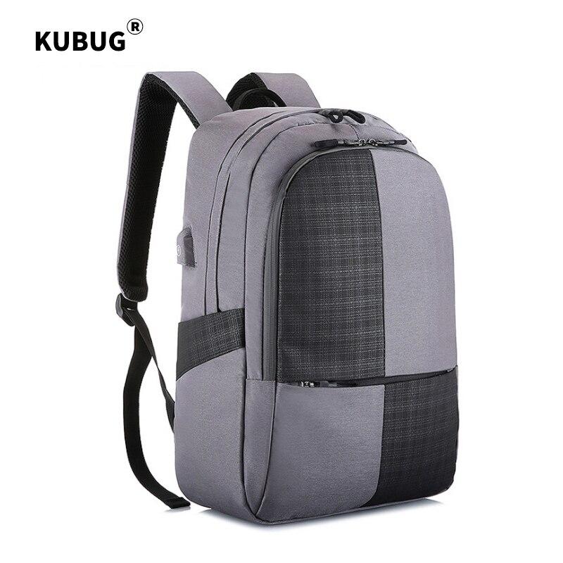 KUBUG-حقيبة ظهر للكمبيوتر المحمول مقاومة للماء ومضادة للرذاذ مع شحن USB للرجال ، حقيبة سفر للمراهقين