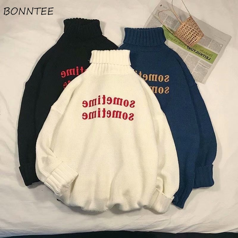 Turtleneck Sweater Women Letter Printed All-match BF Loose 2XL Streetwear Women Harajuku Oversize Chic Fashion Korean Ulzzang