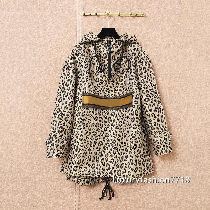 Luxury design 2021 fashion clothes long sleeve Leopard letter Print  elastic waistband Pullover Sweatshirt hoodies women hoodie