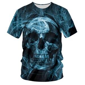 UJWI Fashion Skull T-shirt Smoke Blue Cool T-shirts Oversized Men's T Shirt O-neck Shirt 3D Printing Summer Casual Clothes 5XL