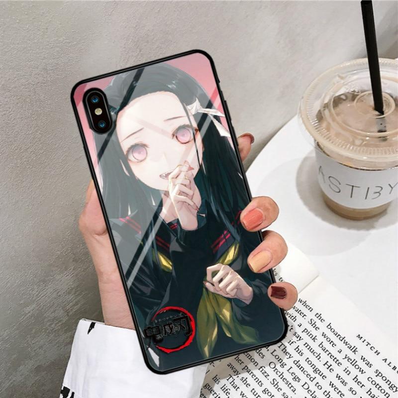 Demon Slayer: Kimetsu no Yaiba  The Blade of Ghost Destruction For iphone 6 7 8 11 xsmax case Steel film Toughened glass