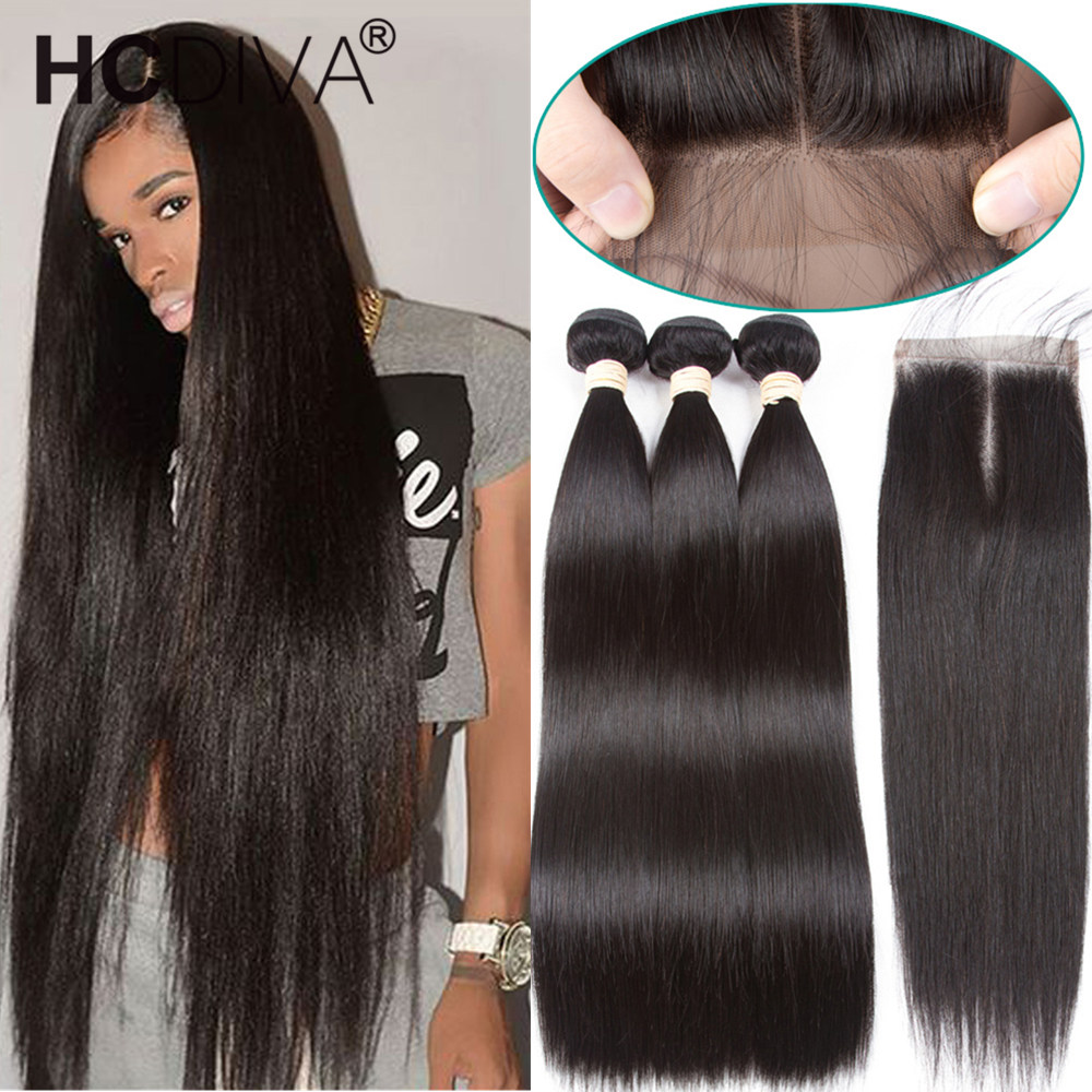Bone Straight Hair Bundles With Closure Brazilian Human Hair Bundles With Closure 3 Bundles With Closure Remy Human Hair Bundles