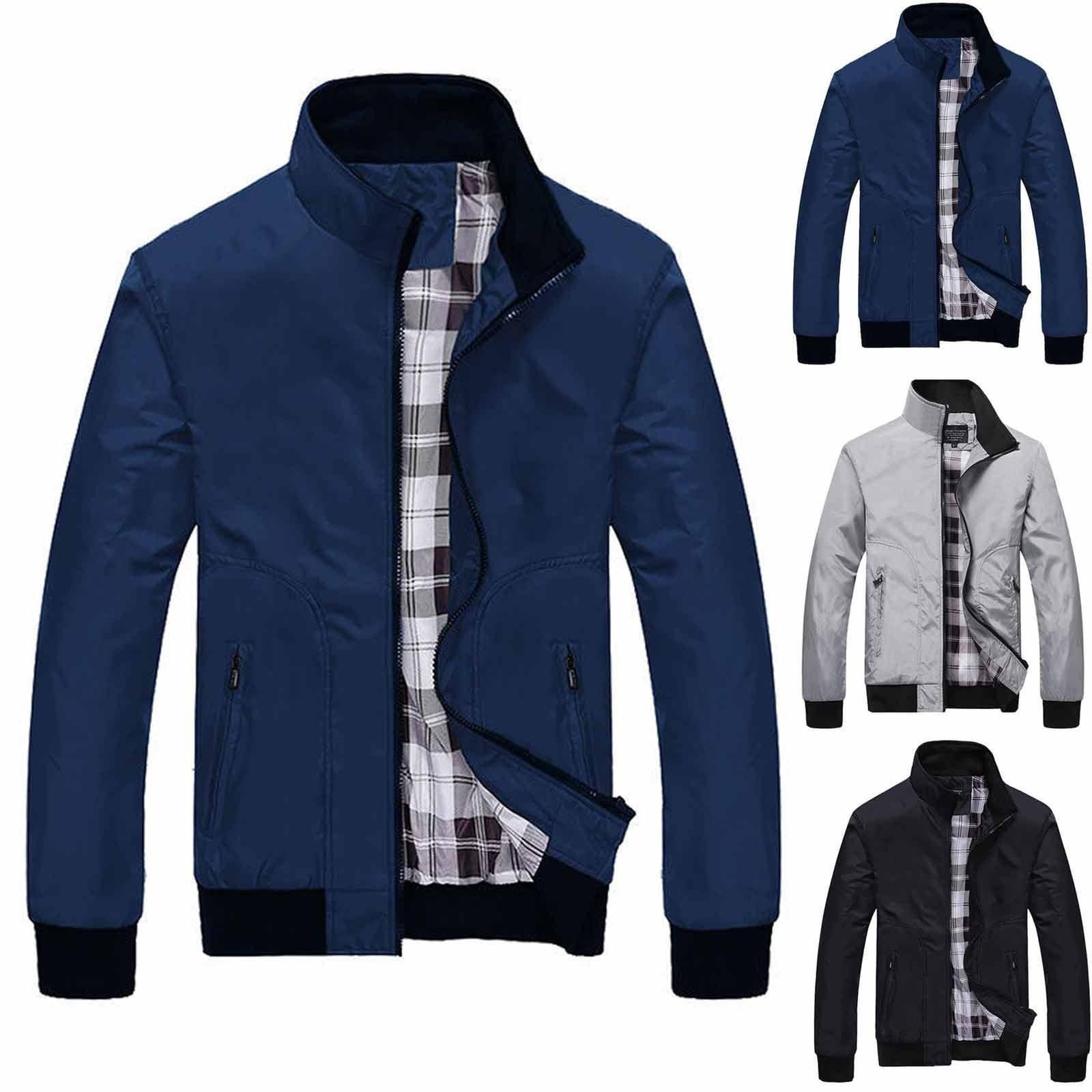 Мужская повседневная куртка на молнии, однотонная кашемировая утепленная куртка с воротником-стойкой, ветрозащитная и теплая хлопковая куртка на осень-зиму